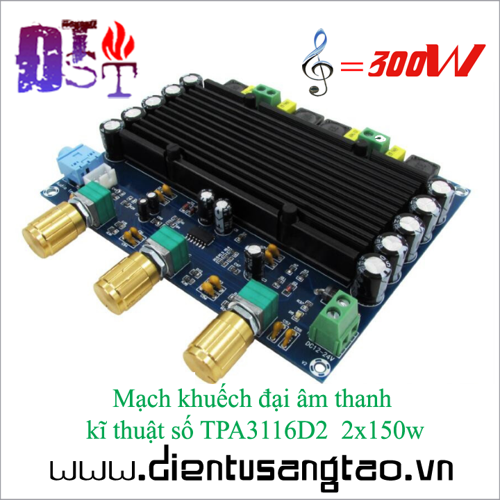 Mạch khuếch đại âm thanh kĩ thuật số TPA3116D2 2x150w 1