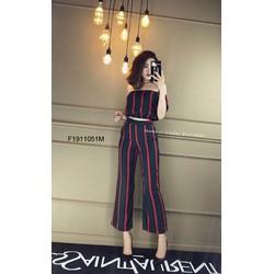 Set áo sọc trễ vai quần dài hàng thiết kế! MS: S191128 Giá sỉ: 150k