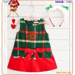 Đầm Noel sọc phối màu kèm cái tóc tuyết cực style cho bé