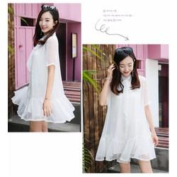 Đầm Suông Tay Con Phối Nơ Xinh