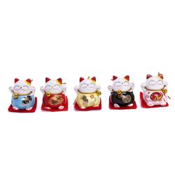 Bộ 5 Chú Mèo Maneki Neko May Mắn