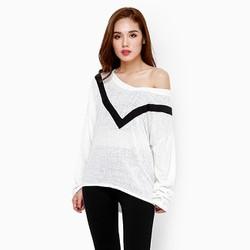 Áo len nữ thời trang tay dài phối sọc màu trắng