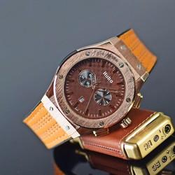 Đồng hồ thể thao nam dây da vân chỉ HUBO JB01