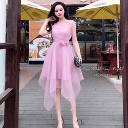 HÀNG- MỚI-Đầm xoè lưới tiểu thư eo cài hoa xinh xắn
