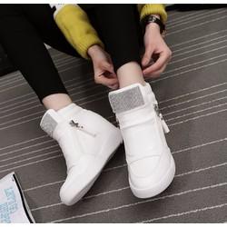 giày cổ cao độn 7p  da cao cấp siêu mềm  3 màu đen ,trắng ,bac