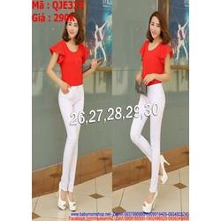 Quần jean trắng 1 nút kiểu lưng cao sành điệu QJE329