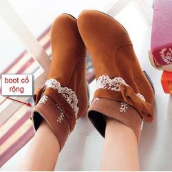 Giày boot viền ren kèm nơ