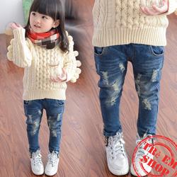 Trẻ em quần jean rách phong cách cá tính hàn quốc bé gái