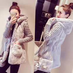 Áo khoác len lông phối nón siêu dày ấm - hàng nhập cao cấp