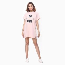 đầm thun nữ oversize form dài thoải mái màu hồng