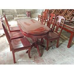 Bộ Bàn Ghế Ăn Gỗ Trẹo 6 ghế trạm khắc đẹp 1m6 và 1m8