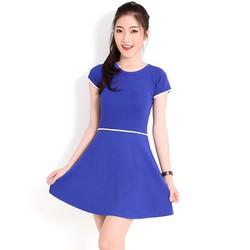 Đầm xòe thắt lưng tay con Femi thời trang - màu xanh