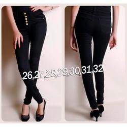 KQ208  Quần jean đen lưng cao 5 nút