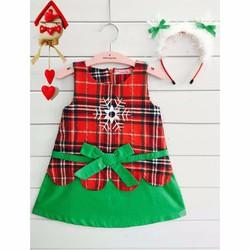 Đầm xinh Noel kèm cài tuyết cho bé 1-5t
