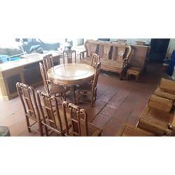 Bộ bàn ghế ăn bàn tròn gỗ gụ