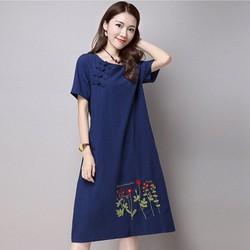 Đầm jean phom suông thêu hoa hàng việt chất lượng