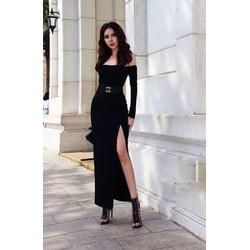 Chuyên sỉ - Đầm dạ hội đen kiểu tay dài vai ngang xẻ tà