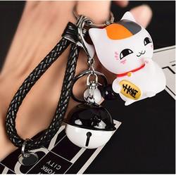 Móc khóa mèo thần tài có lục lạc Dây Đen cung cấp bởi WinWinShop88