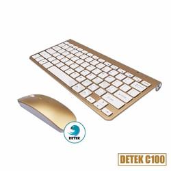 Combo bàn phím và chuột không dây thời trang Detek C100 - vàng