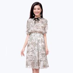 Đầm Xòe Hoa Cổ Nơ Đen