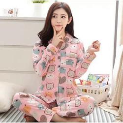 Bộ ngủ pyjama dài tay hoạ tiết hoạt hình