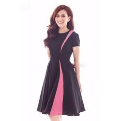HÀNG THIẾT KẾ ĐỦ SIZE-Đầm Xòe Tay Con Phối Màu-TQS399