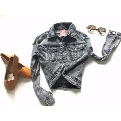 Áo khoác jeans nử thun giãn xám lông chuột