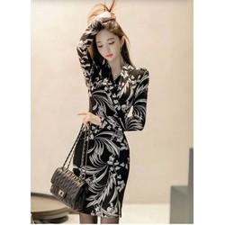 Đầm ôm thun lụa hoa DON200181 - Hàng nhập loại 1