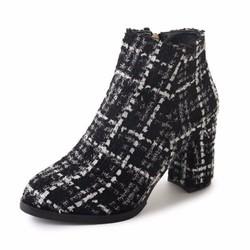 giày ankle boot kẻ sọc Mã: GC0249 - ĐEN