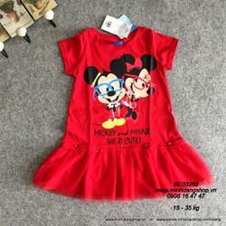[17-40 kg] Đầm Thái lan họa tiết Mickey n Minie Mouse xinh xắn
