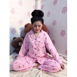 Đồ bộ Pijama kate  dài tay quần dài đẹp  cao cấp S486