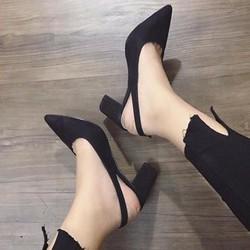 giày gót vuông kim tuyến bít mũi