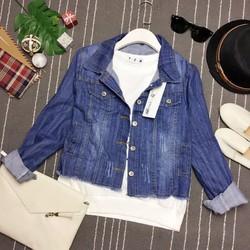 Áo khoác jeans pha nắp túi phối gấu xé