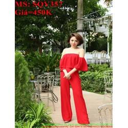 Sét áo kiểu rớt vai cúp ngang và quần ống suông đỏ sang trọng SQV357