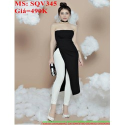 Sét áo dài xẻ tà cúp ngực phối quần dài sành điệu SQV345