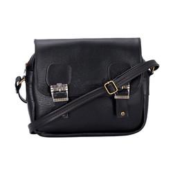 Túi xách da 2 khóa màu đen SH7016