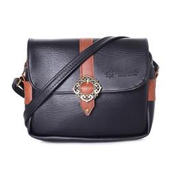 Túi xách da phối viền 1 khóa màu đen SH9516