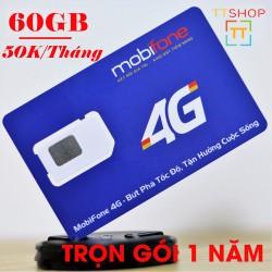 Sim 4G Mobifone 62GB Gia hạn mỗi tháng 50K