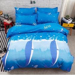 Bộ poly cotton Cá heo xanh