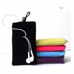 Túi nhung chống xước sang trọng bảo vệ điện thoại, tai nghe,đựng tiền