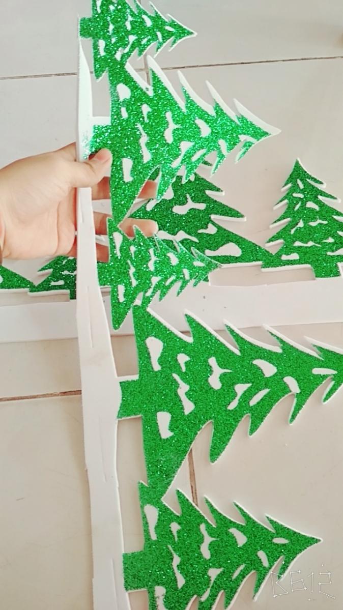 Decan Trang Trí Noel - Hình Cây Thông Có Kim Tuyến 2