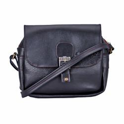 Túi xách da 1 khóa màu đen SH3016