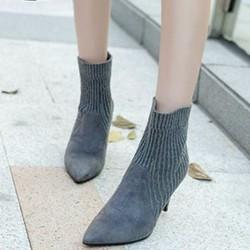 giày ankle boot len sành điệu Mã: GC0250 - XÁM