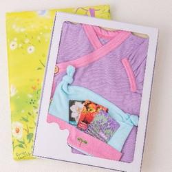 Bộ Kimono và Mũ Nhật Bản cho bé 0-6 tháng tuổi màu dâu