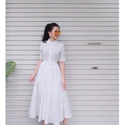 Đầm Xòe Chấm Bi Vintage Cổ Sơ Mi - Trắng #99418