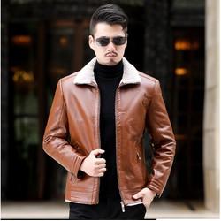 Áo khoác da nam da Dê thật lót lông cừu cao cấp thời trang 2018