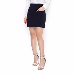 Chân váy nữ thời trang phối 2 túi màu xanh đen