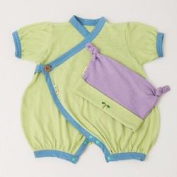Bộ Kimono và Mũ Nhật Bản cho bé 0-6 tháng tuổi màu xanh lá