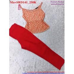 Sét áo hoa hai quai phối với quần dài trẻ trung SRD141