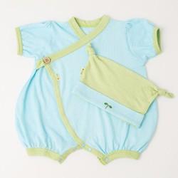 Bộ Kimono và Mũ Nhật Bản cho bé 0-6 tháng tuổi màu trắng